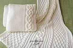 Úžitkový textil - Biely pletený set.... deka +vankúš - 8236342_
