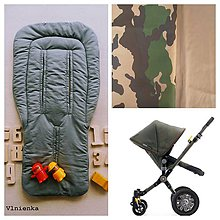 Textil - ARMY univerzálna podložka do kočíka Bugaboo Cameleon 3 Diesel Army na mieru - 8236777_