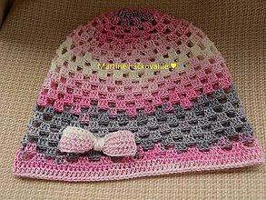 Čiapky - letná čiapka s mašličkou - 8236122_