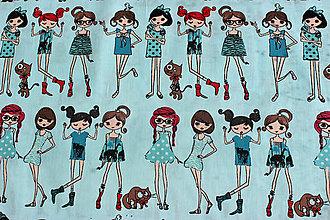 Textil - Popelín Dievčatá v modrom, 100% bavlna - 8235798_
