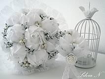 Kytice pre nevestu - Svadobná kytica,svadobné pierko - 8236269_