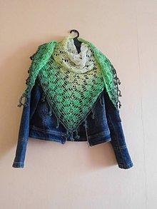 Šatky - Zelená dúhová šatka so strapcami - 8236401_
