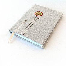 Papiernictvo - Vyšívaný zápisník Farebný kvet na ľane - A6 - 8235385_