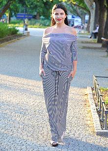 Šaty - BOHO šaty univerzálné - pruhované, vel. S - M - 8234970_