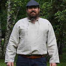 Oblečenie - Ľanová košuľka Svetislav prírodná - 8237920_