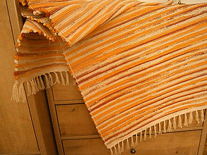 Úžitkový textil - tkany koberec oranzovy melir - 8239294_