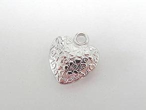 Komponenty - Prívesok srdce srdiečkové strieborné 18x20 mm - 8239189_
