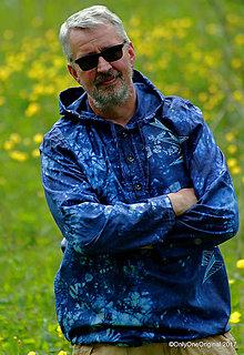 Mikiny - Pánska mikina s kapucou, sťahovacia, batikovaná, maľovaná, etno VÁJU - 8238385_