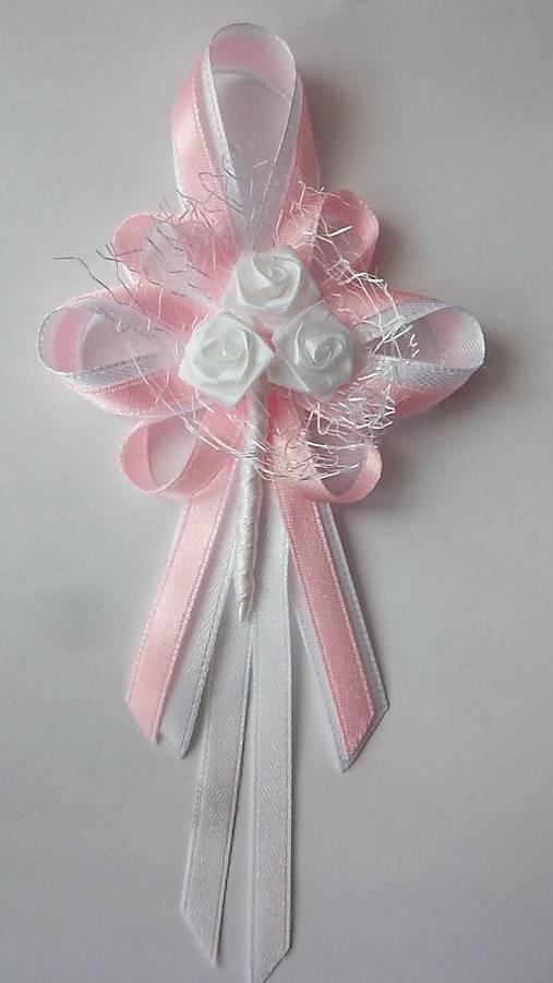 Bielo-ružové svadobné pierko pre svad. otca/starejšieho
