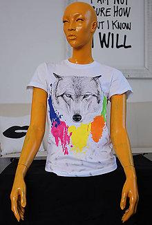 Tričká - Maľované tričko vlk - 8240219_