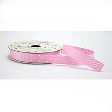 Galantéria - Love ribbon - ružová stuha s bielymi srdiečkami - 8237734_