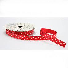 Galantéria - Love ribbon - červená stuha s bielymi srdiečkami - 8237739_