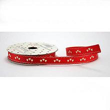 Galantéria - Love ribbon - Love ribbon - červená stuha s bielymi srdiečkami v trojiciach - 8238340_
