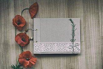 Papiernictvo - Fotoalbum klasický s papierovým obalom ozdobený vetvičkou rozmarínu - 8239073_