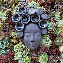 Socha - Ruženka - kvetináč ako obraz - 8239068_
