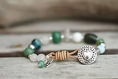 - Bohemian náramok z minerálu achát, jadeit, krištáľ - 8237841_