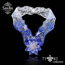 Náhrdelníky - Náhrdelník s čipkou (Modro-biely s jedným kvetom) - 8239707_