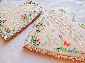 Darčeky pre svadobčanov - Medovníkové ďakovné srdce folk 23 cm - 8243571_