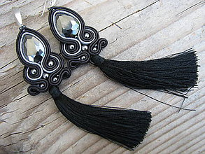 Náušnice - Teardrop with tassels...soutache (Black/Hematite) - 8242607_