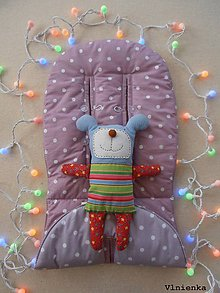 Textil - RUNINKO Vložka / podložka univerzálna LETNÁ do kočíka a autosedačky 0+ BODKA ružová fialová - 8243684_
