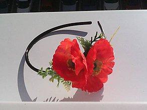"""Ozdoby do vlasov - Kvetinová čelenka do vlasov """"...divý mak žiari v tvojich vlasoch..."""" - 8241627_"""
