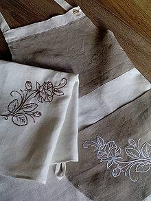Iné oblečenie - Darčekový ľanový set - zástera a utierka - 8242581_