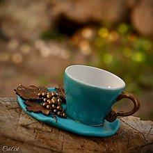 Nádoby - Réva - šálka na kávu s viničom - 8243144_