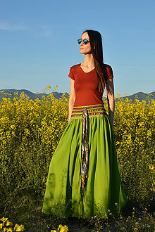 Sukne - Crochet waist skirt - green - 8242445_