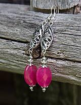 - Sladké ružové jadeity v starostriebre - náušnice - 8243064_