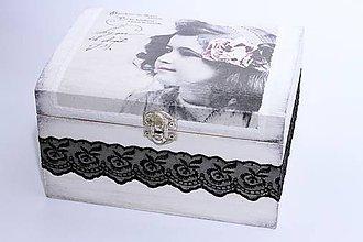 Krabičky - Vintage dievčatko s ružou vo vlasoch - truhlicová šperkovnica - 8241527_