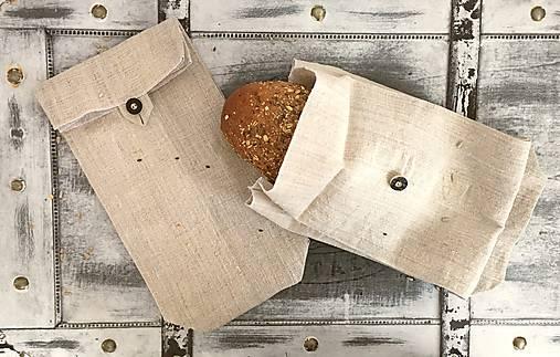 Úžitkový textil - Vrecúško na chlieb z ľanového plátna - 8242349_