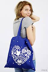 Nákupné tašky - Plátená taška modrá Viera, nádej, láska - 8241958_