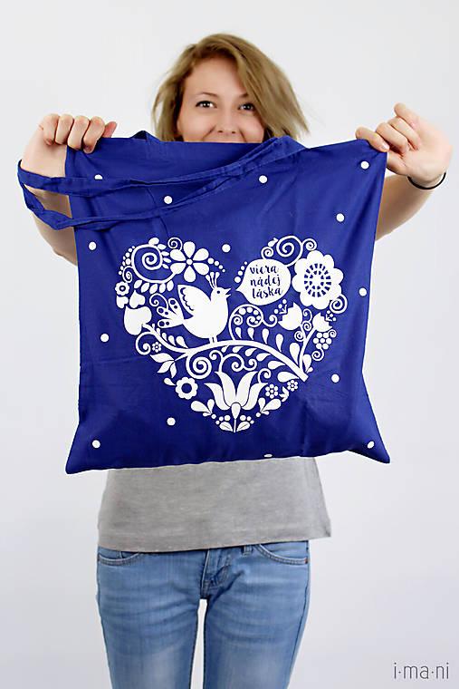 Plátená taška modrá Viera, nádej, láska