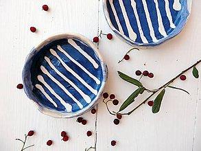 Nádoby - Keramická mištička indigo pásikavá námornícka - 8245473_