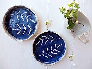 Nádoby - Keramická miska indigo s vetvičkami - 8245498_