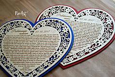 Darčeky pre svadobčanov - Srdiečko Poďakovanie rodičom 26 - 8244527_