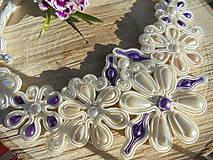 Sady šperkov - Soutache set Elizabeth - ivory s fialovou - 8245671_