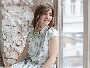 """Šaty - Mätové košeľové šaty so vzorom """"Slová, vypustené z klietky"""" - 8245093_"""