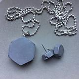 Sady šperkov - Betónový set HEX nuts gray - 8244534_