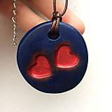 Náhrdelníky - Betónový náhrdelník DoubleLove blue - 8244626_