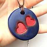 Náhrdelníky - Betónový náhrdelník DoubleLove blue - 8244628_