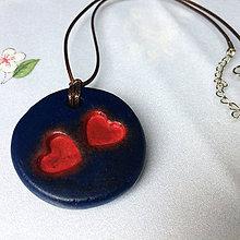 Náhrdelníky - Betónový náhrdelník DoubleLove blue - 8244627_