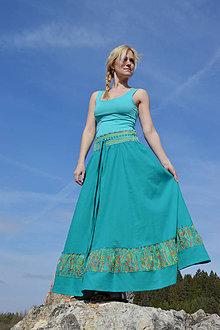 Sukne - Crochet waist skirt - smaragdová - 8244746_