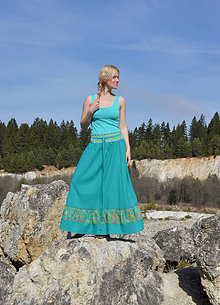 Sukne - Crochet waist skirt - smaragdová - 8244750_