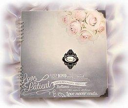 Papiernictvo - Svadobný album s ružičkami - Love/svadobný fotoalbum - 8244312_