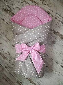Textil - Zavinovačka sivá s ružovou - 8245565_