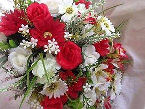 Kytice pre nevestu - zlava-Červená -Kytica velka svadobná alebo gratulacna - 8244588_