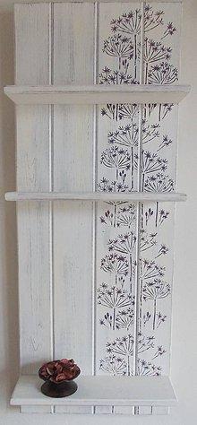 Nábytok - Polička - fialové kvetinky - 8248342_