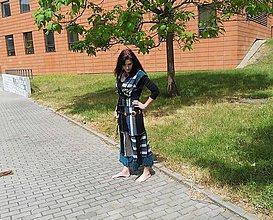 Šaty - lel,etno maxišaty tyrkys-prúžkované 8 - 8246250_