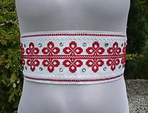 Svadobný opasok LUXURY FOLK bielo-červený